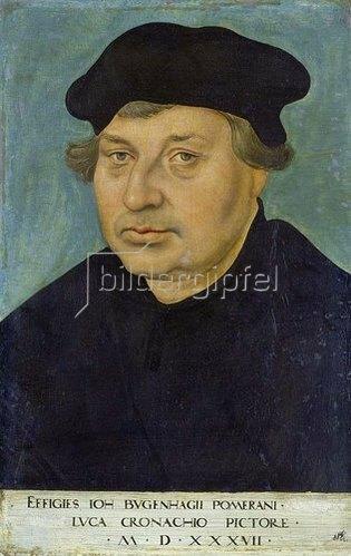 Lucas Cranach d.Ä.: Bildnis des Reformators Johann Bugenhagen (1485-1558).