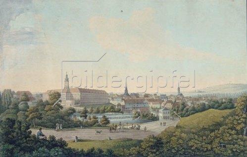 Georg Melchior Kraus: Stadtansicht von Weimar. Kupferstich, koloriert.