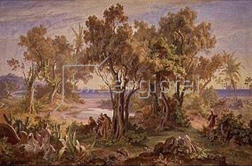 Friedrich Preller d.Ä.: Landschaft bei Askalon mit Blick über das Meer.