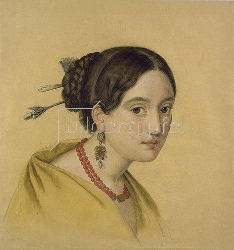Louise Caroline Seidler: Portrait einer Dame mit Haarschmuck.