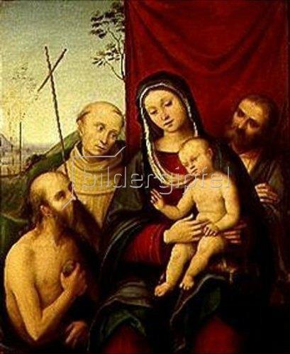 Lorenzo Costa: Die hl.Familie mit Heiligen.