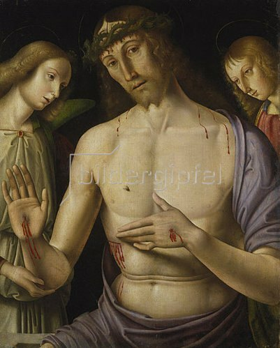 Giovanni Santi: Christus im Grabe mit zwei Engeln.