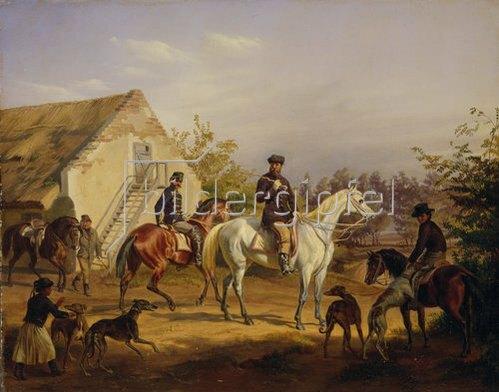 Károly Sterio: Ausritt zur Jagd. 1856