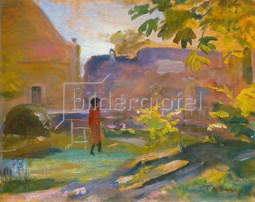 János Tornyai: Frau in rotem Kleid in einem Park in Szentendre.