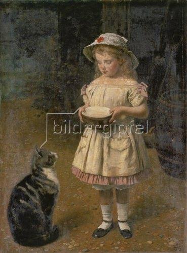 Otto Franz Scholderer: Blondes Mädchen mit Katze.