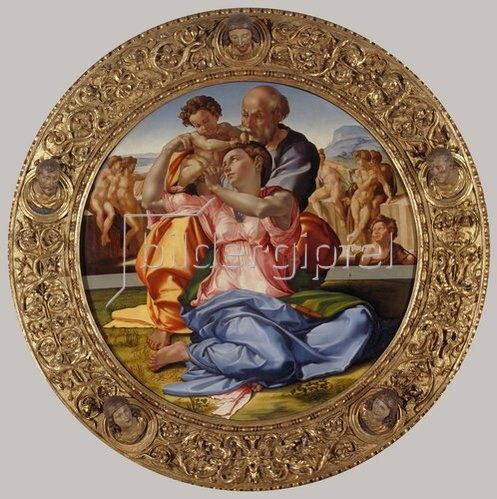Michelangelo: Heilige Familie mit dem Johannesknaben (Tondo Doni). Um 1503-04