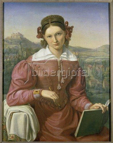 Adolf Senff: Charlotte Laue, verheiratete Schauroth, vor der Veste Coburg, Bildnis, um 1810