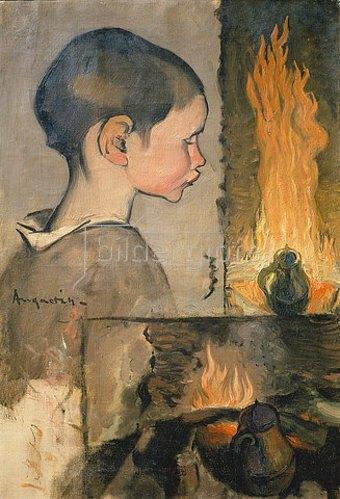 Louis Anquetin: Kind und Feuerstelle.