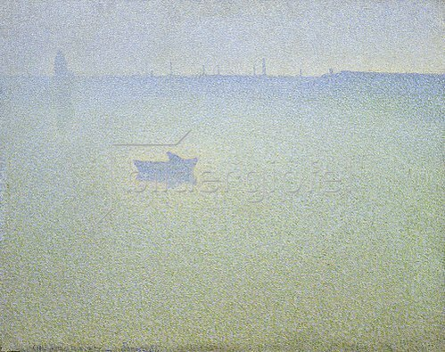 Charles Angrand: Morgendämmerung über der Seine. 1899