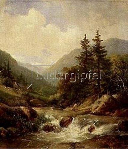 Hendrik van de Sande Bakhuyzen: Gebirgsbach. 1844.