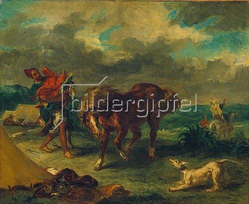 Eugene Delacroix: Marokkaner und Pferd. 1857