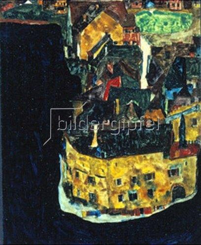 Egon Schiele: Stadt am blauen Fluss II., 1911.