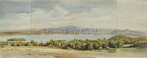 Leopold Rottmann: Der Starnberger See mit der Roseninsel und der Benediktenwand.