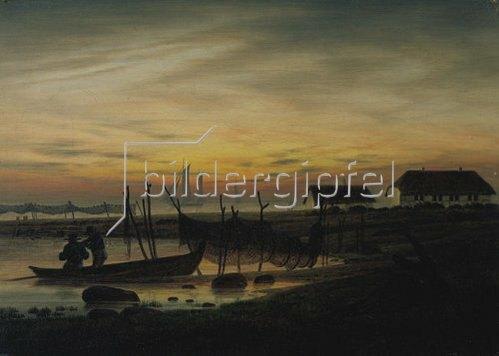 Caspar David Friedrich: Küstenlandschaft im Abendlicht. Um 1816/1818.