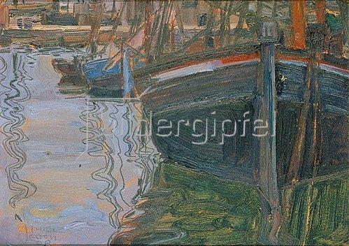 Egon Schiele: Boote, sich im Wasser spiegelnd. 1908.