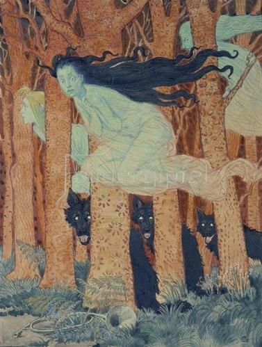 Eugene Samuel Grasset: Drei Frauen und drei Wölfe.