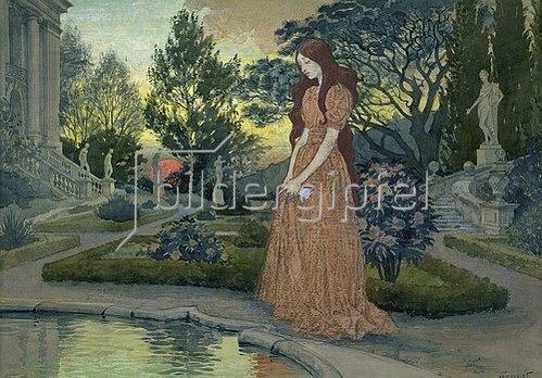 Eugene Samuel Grasset: Junge Frau in einem Garten.