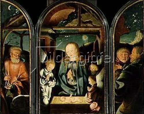 Jan (van Kalkar) Joest: Triptychon Die Anbetung des Christkindes