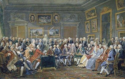 Gabriel Lemonnier: Lesung einer Tragödie von Voltaire im Salon der Mme. Geoffrin. 1814