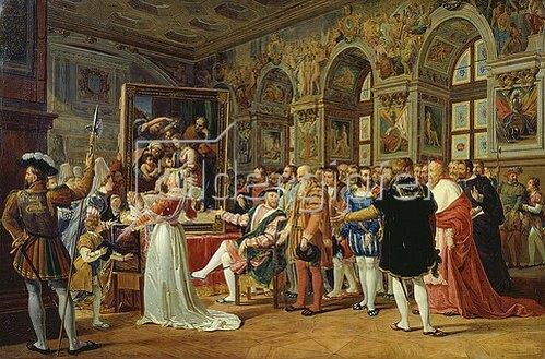 Gabriel Lemonnier: Raffael führt König Franz I. von Frankreich sein Werk 'Die heilige Familie' vor. 1814