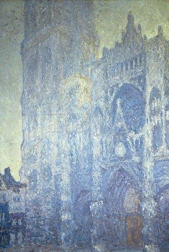 Claude Monet: Portal der Kathedrale von Rouen mit Turm Saint-Romain im Morgenlicht (harmonie blanche). 1893