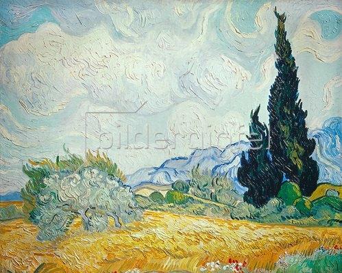 Vincent van Gogh: Weizenfeld mit Zypressen und blühendem Baum. 1889