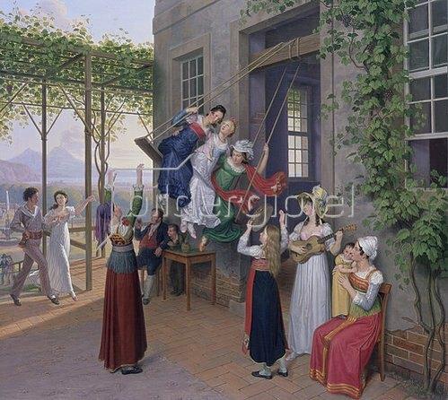 Johann Erdmann Hummel: Junge Leute schaukeln in einem Garten bei Neapel.