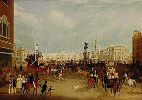 James Pollard: Der Trafalgar Square in London 1836.