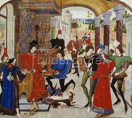 Loyset Liédet: Vasce de Luce überreicht Karl dem Kühnen seine Übersetzung von 'Den Taten Alexander des Großen'.