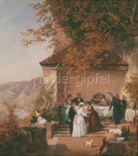Theodor Schüz: Unterhaltung auf der Terrasse über dem Neckar (Ausschnitt).