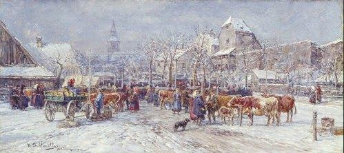 Karl Stuhlmüller: Winterlicher Markttag. 1904.