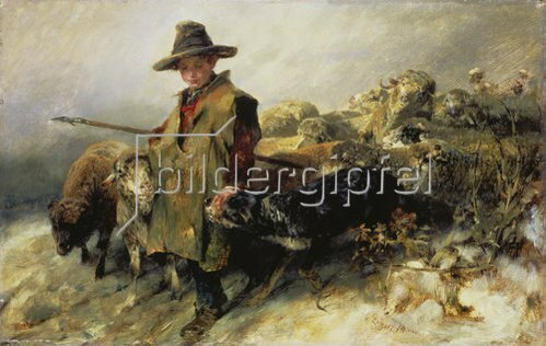 Heinrich von Zügel: Kleiner Schäfer im Schnee. Um 1872