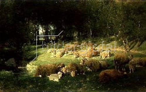Heinrich von Zügel: Schafe im Erlenhain. 1875.