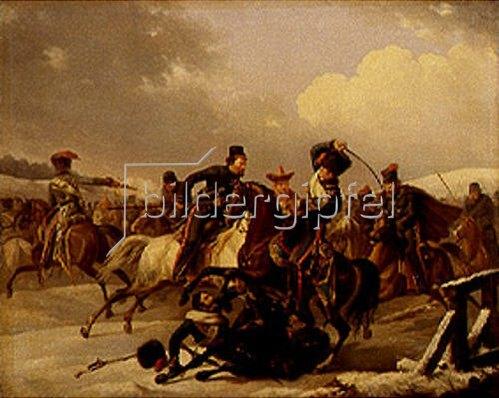 August Joseph Desarnod d.Ä.: Kosaken überfallen eine französische Einheit. 1827.