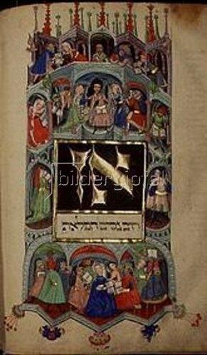 Handschrift: Darmstädter Pessach-Haggada. Studium der biblischen Schriften.