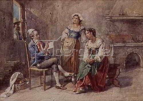Cesare Auguste Detti: Der Zeitungsleser in der Küche.