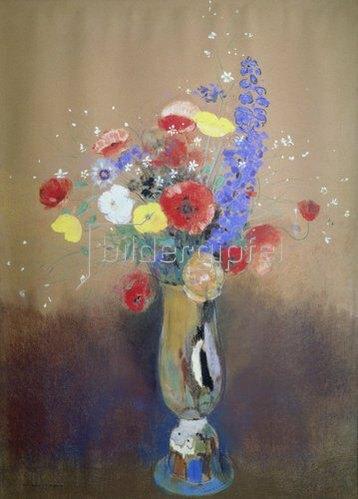 Odilon Redon: Feldblumenstrauss in hoher Vase.