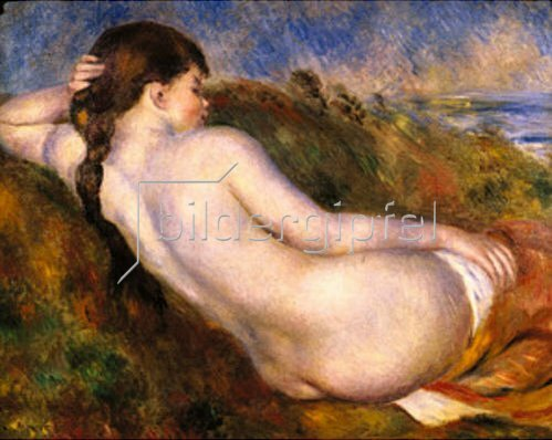 Auguste Renoir: Nacktes Mädchen, im Dünengras ruhend.