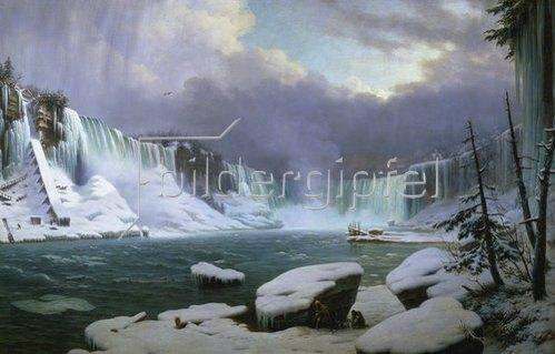 Hippolyte Victor Valentin Sebron: Panorama der Niagara-Fälle im Winter. 1857