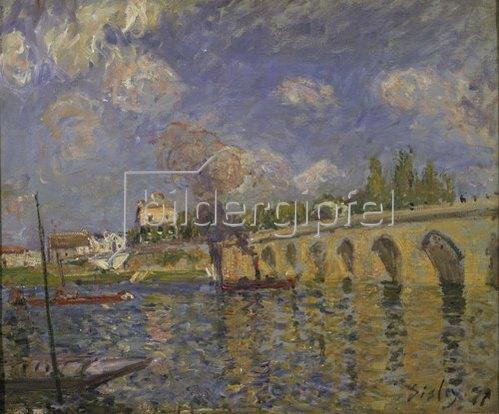 Alfred Sisley: Flussdampfer und Brücke. 1871
