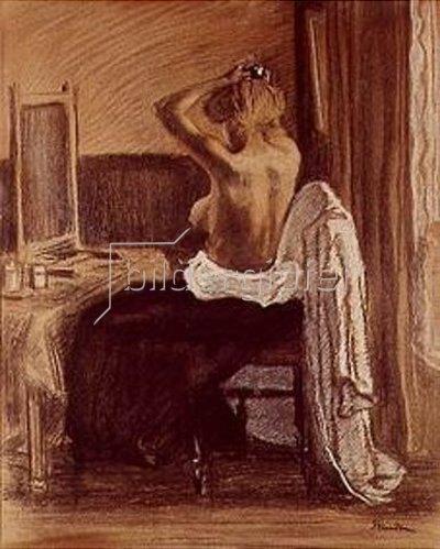 Théophile-Alexandre Steinlen: Halbakt vor dem Spiegel. 1895.