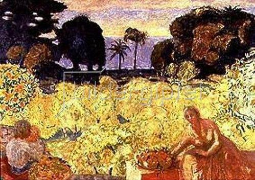 Pierre Bonnard: Frau und Kind (Gelbe Landschaft).
