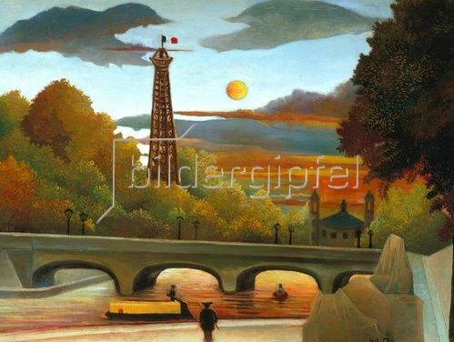 Henri Rousseau: Seine und Eiffelturm in der Abendsonne.
