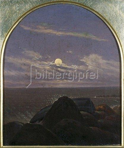 Carl Gustav Carus: Meeresküste im Mondschein.