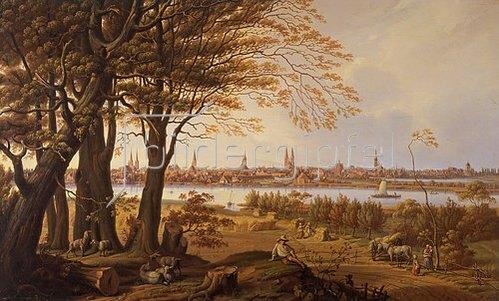Carl Schmidt-Carlson: Lübeck von Osten, von Marli aus. Um 1840