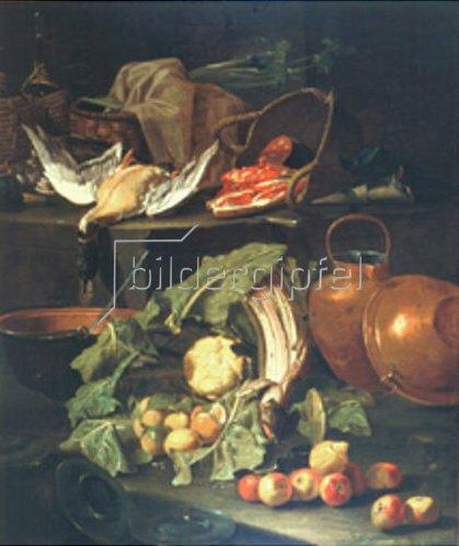 Cristoforo Munari: Stillleben mit Obst, Gemüse und toter Ente