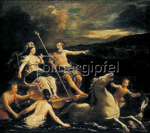 Louis de Boullogne d.Ä.: Neptun führt Amphytrite auf seinem Meereswagen zu seinem Schloss.