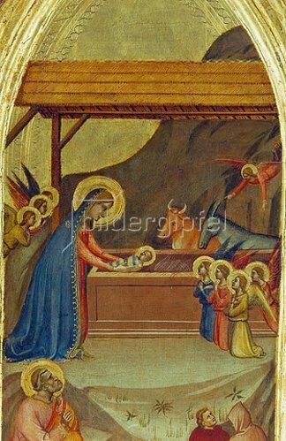 Bernardo Daddi: Die Geburt Christi. Ausschnitt aus dem Flügel eines Triptychons.