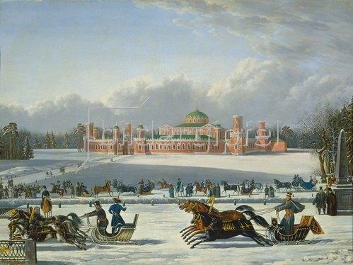 russisch Anonym: Schlittenrennen in den Petrovskij-Gärten in Moskau.