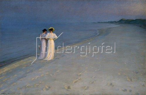 Peter Severin Kroyer: Sommerabend bei Skagen (Anna Ancher und Marie Kroyer am Skagener Südstrand). 1893
